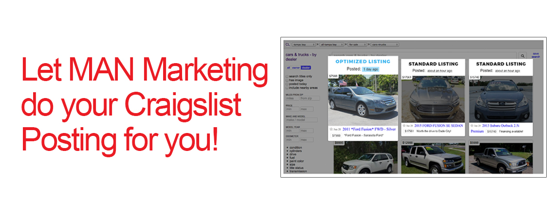 Craigslist Posting For Auto Dealers - M A N  Marketing, Inc